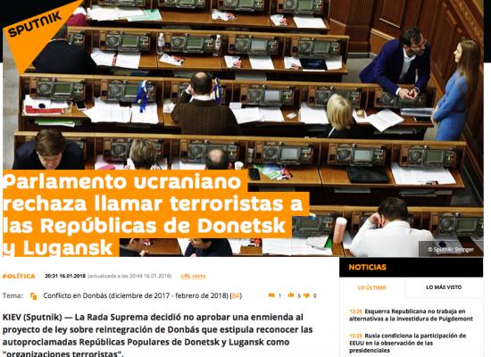 """Especulación: Parlamento ucraniano rechaza llamar terroristas a las """"repúblicas"""" de Donetsk y Lugansk"""