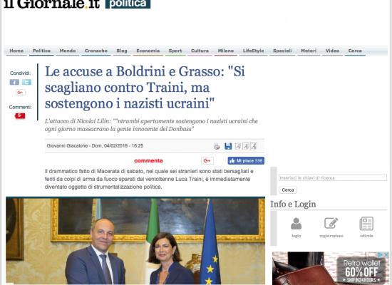 """Fake : Le accuse a Boldrini e Grasso: """"Si scagliano contro Traini, ma sostengono i nazisti ucraini"""""""