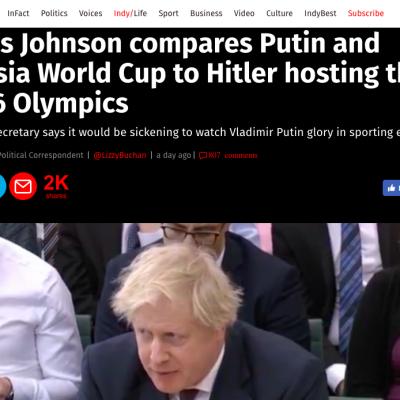 «Без Гитлера, но с болельщиками»: российские СМИ переиначили слова Бориса Джонсона о ЧМ 2018