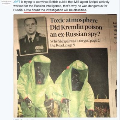 Сценарият на руската пропаганда се разкри напълно в туитовете на руското посолство за отравянето на бившия шпионин Сергей Скрипал в Солсбъри