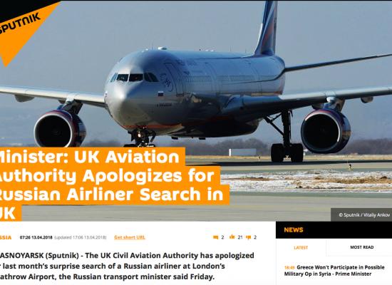"""Fake:A Londra si sono scusati per l'ispezione diun aereo della compagnia""""Aeroflot"""""""