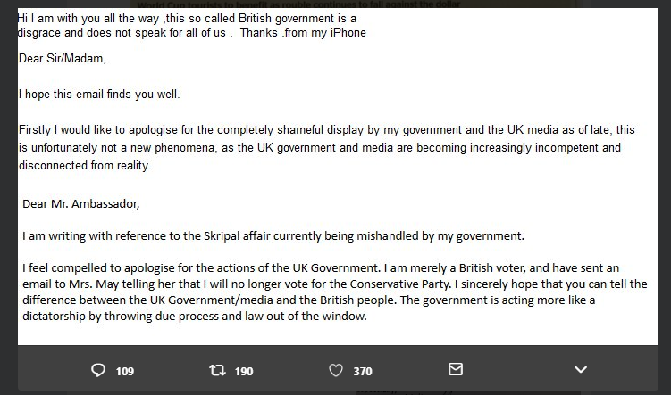 Is the Russian embassy in the UK writing letters to itself?   StopFake