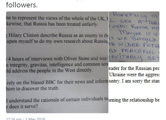 Is the Russian embassy in the UK writing letters to itself?