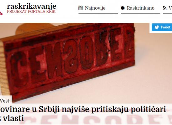 Novinare u Srbiji najviše pritiskaju političari iz vlasti