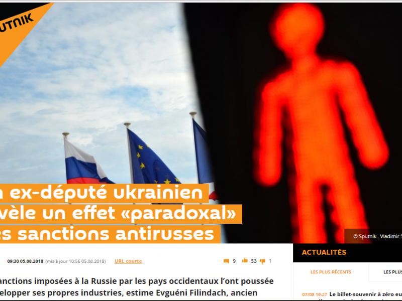 Fake: Les sanctions antirusses renforcent la Russie au lieu de l'affaiblir