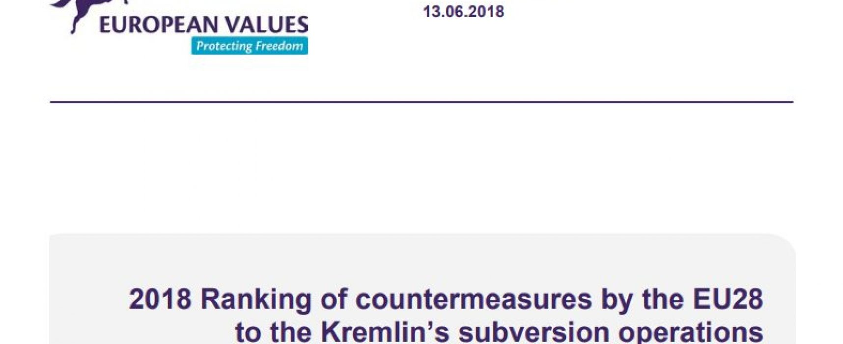 2018 Ranking of countermeasures by the EU28 to the Kremlin's subversion operations