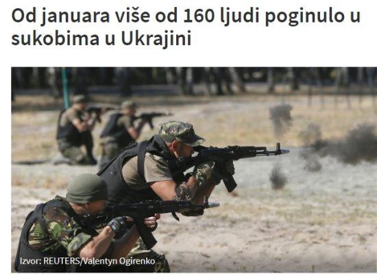 Od januara više od 160 ljudi poginulo u sukobima u Ukrajini