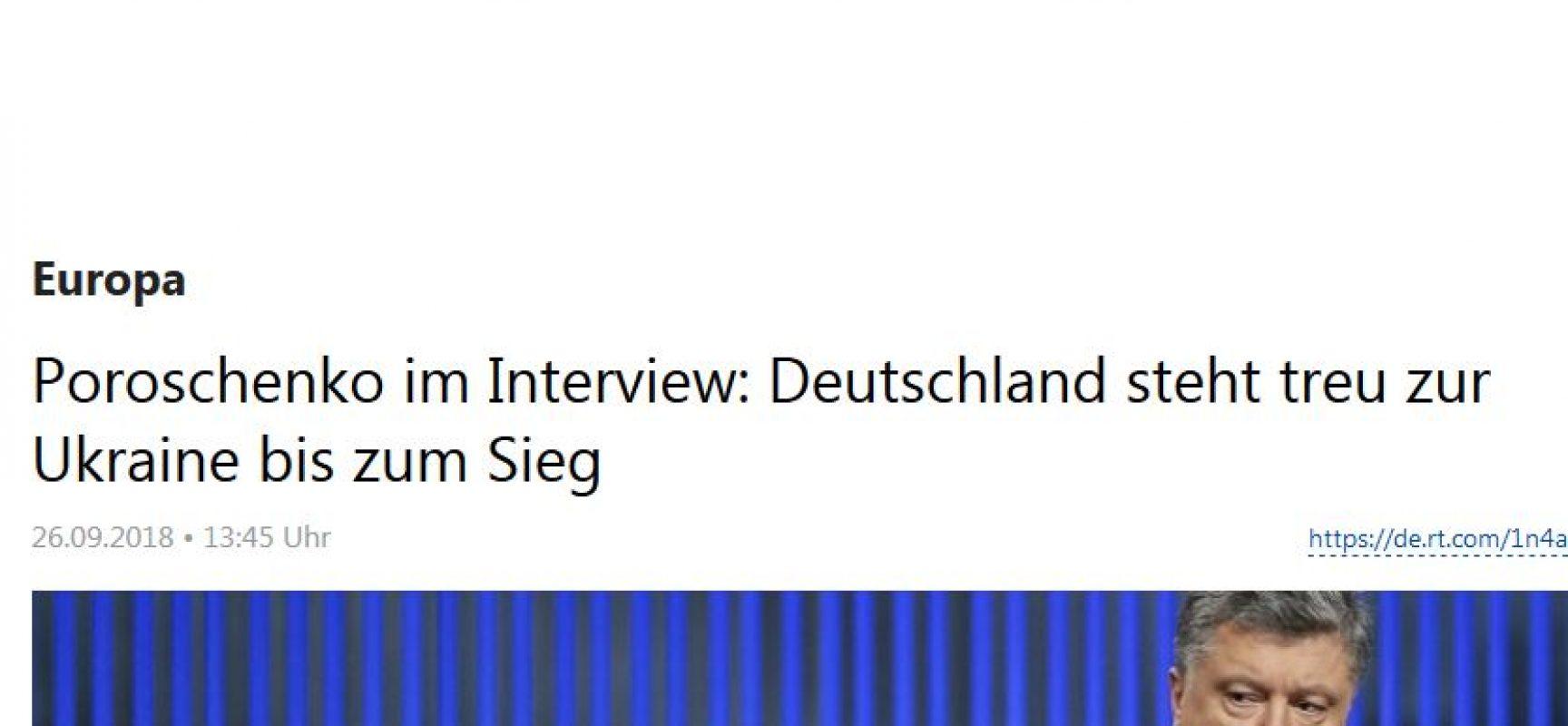 Manipulativ: Poroschenko im Interview: Deutschland steht treu zur Ukraine bis zum Sieg