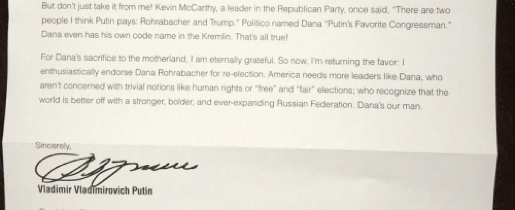 «Письмо Путина американским избирателям». «Вести» выдали политический памфлет за фейк