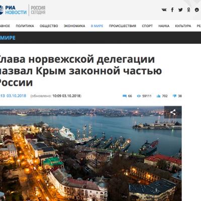 Lažna vest: Norveške diplomate priznale da je Krim deo Rusije