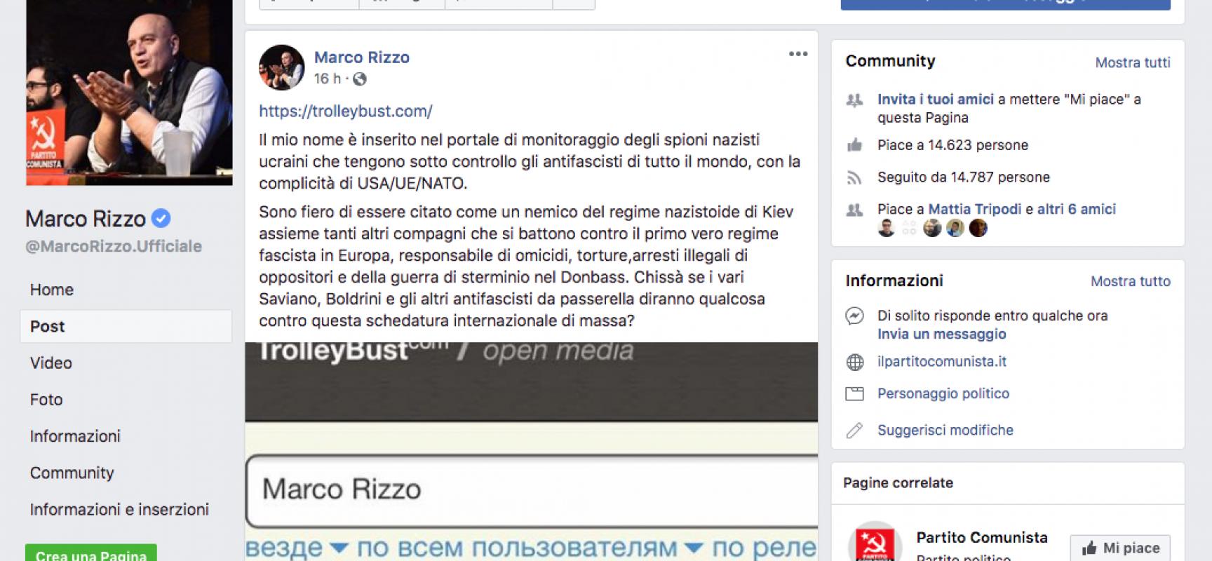 """Marco Rizzo dei Comunisti italiani : """"Sono fiero di essere citato come un nemico del regime nazistoide di Kiev """""""