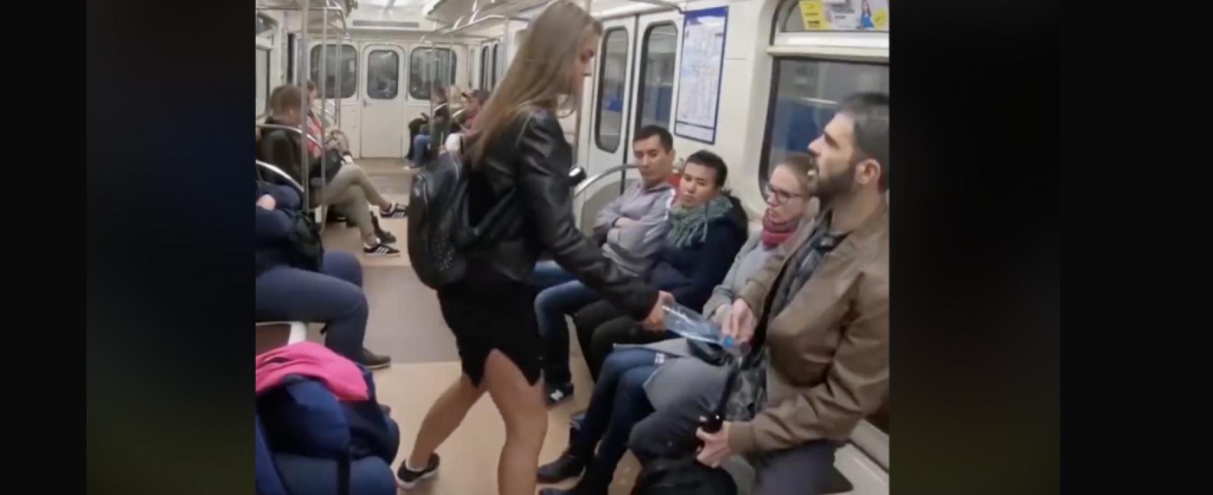 """Viral """"manspreading"""" video is staged Kremlin propaganda"""