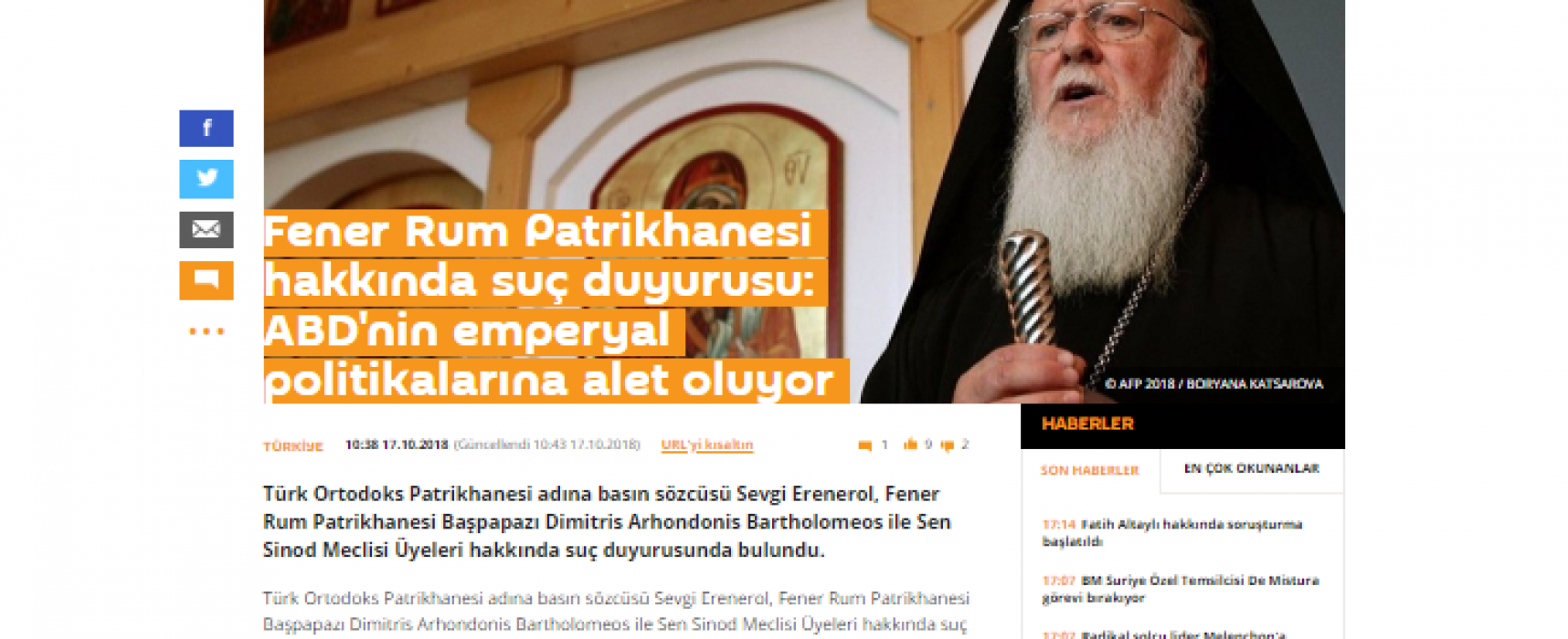 Manipulation: Tiny Turkish Orthodox Church Demands Legal Action against Constantinople Patriarch for Ukraine's Autocephaly