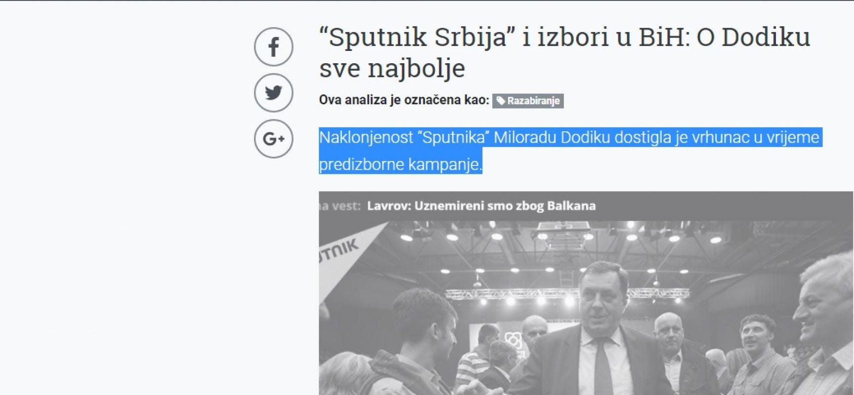 """""""Sputnik Srbija"""" i izbori u BiH: O Dodiku sve najbolje"""