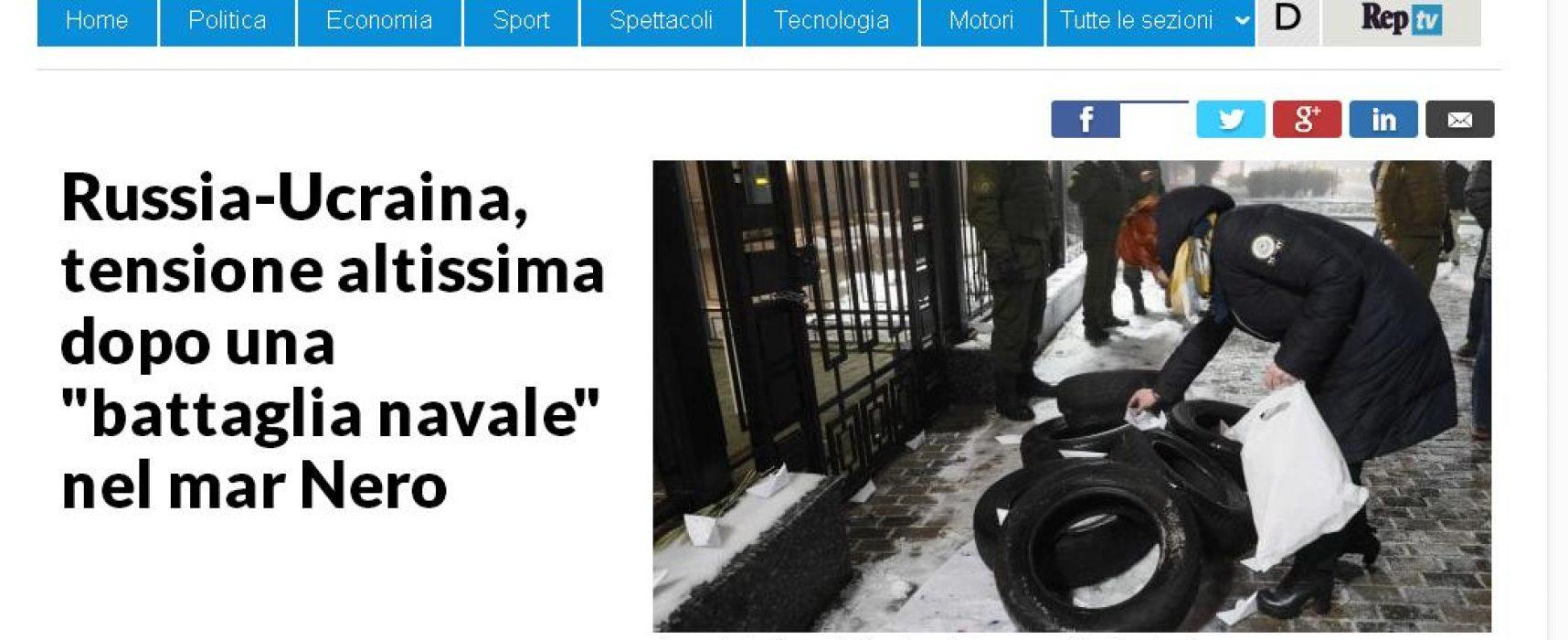 """Fake: La Repubblica, l'artiglieria ucraina ha cominciato a sparare contro """"zone residenziali"""""""