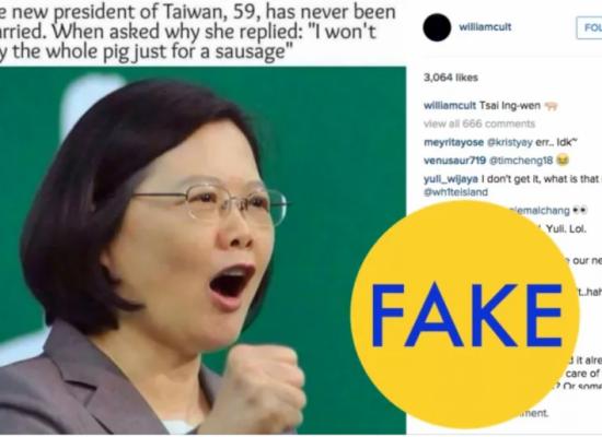 "Noticias falsas ""hechas en China"" inundan Taiwán"