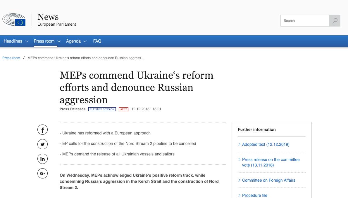 Fake: EU Refuses to Punish Russia for Seizure of Ukrainian