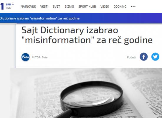 "Sajt Dictionary izabrao ""misinformation"" za reč godine"