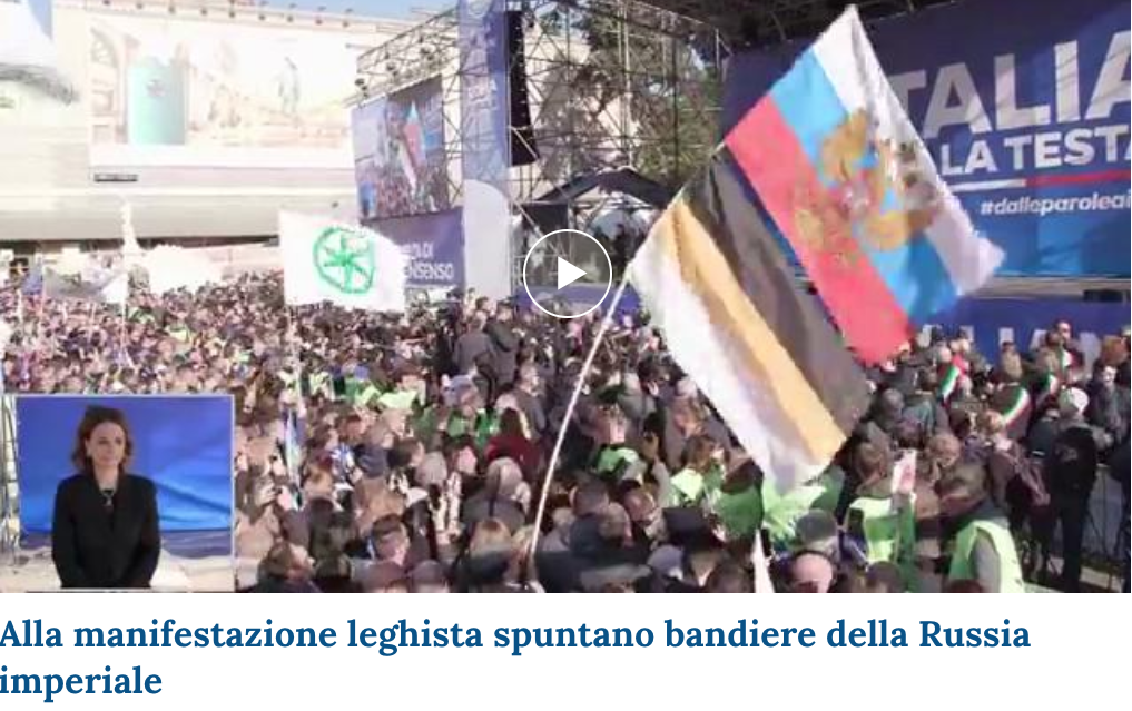 bandiere russe a roma per salvini