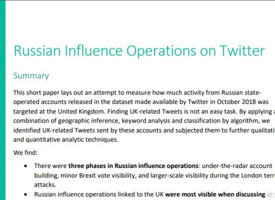 Russian influence operations on Twitter