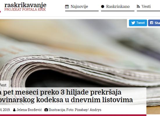 Za pet meseci preko 3 hiljade prekršaja novinarskog kodeksa u dnevnim listovima