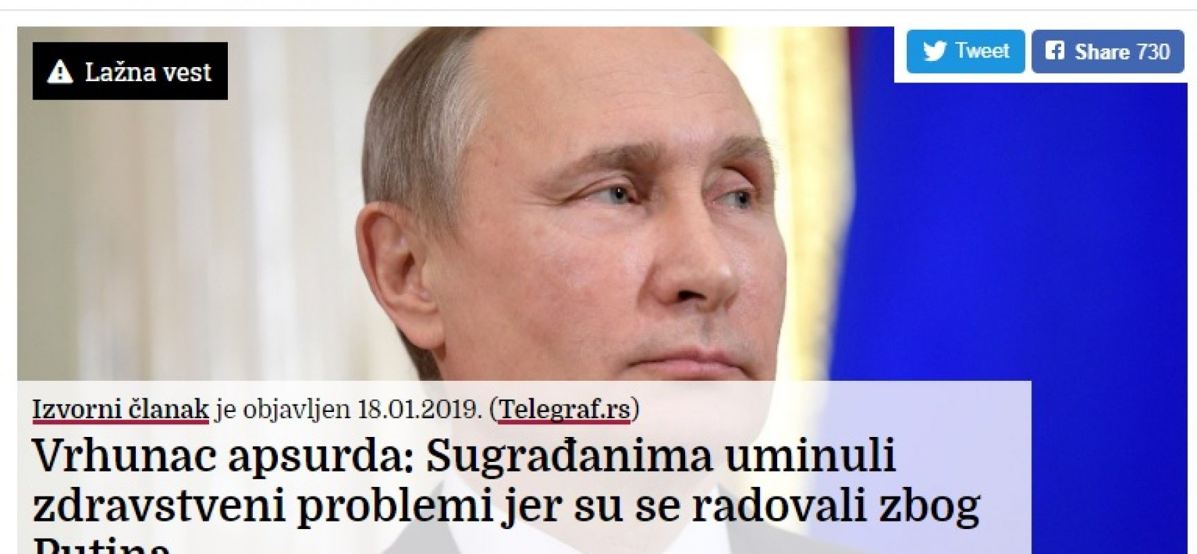 Vrhunac apsurda: Sugrađanima uminuli zdravstveni problemi jer su se radovali zbog Putina