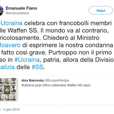 Fake: Emanuele Fiano l'Ucraina celebra con francobolli delle SS