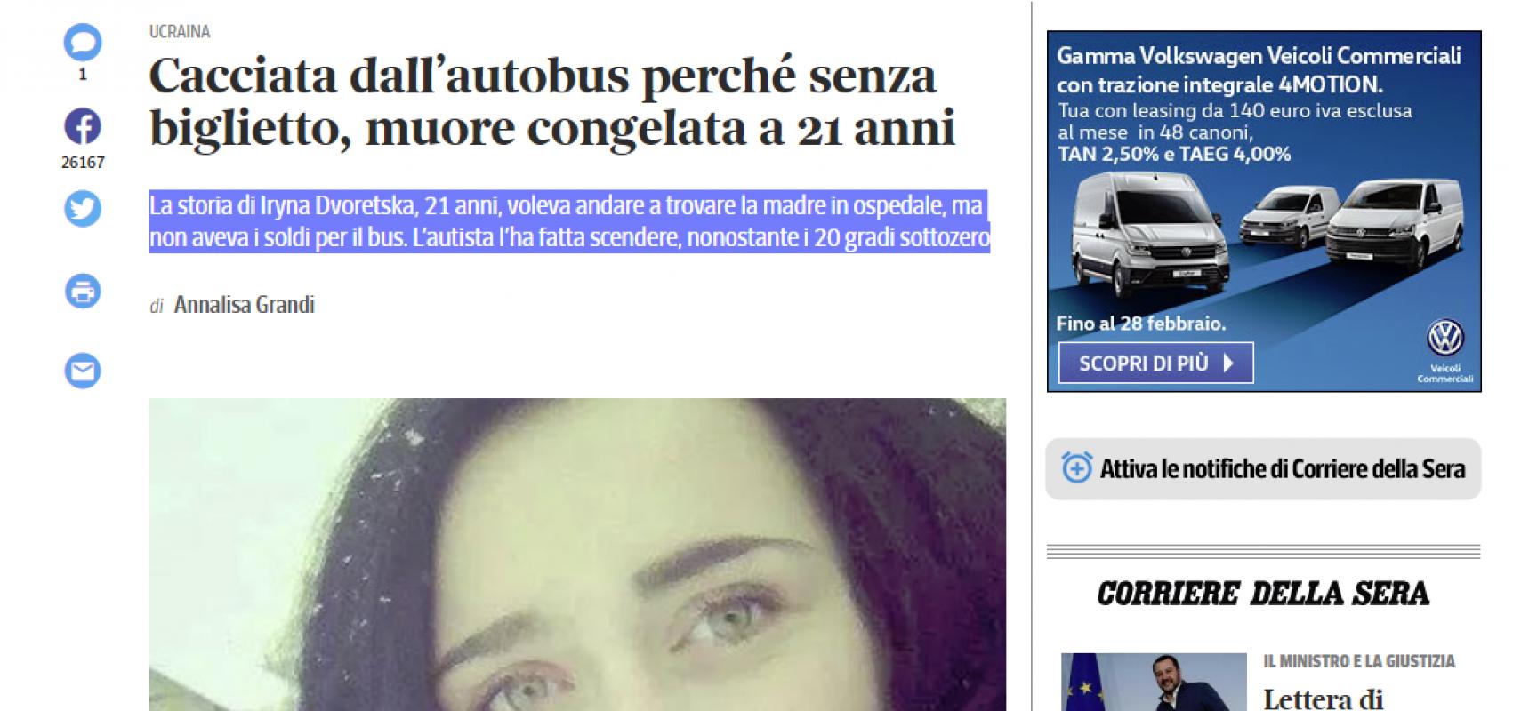 Misinformation del Corriere della Sera : La storia di Iryna Dvoretska
