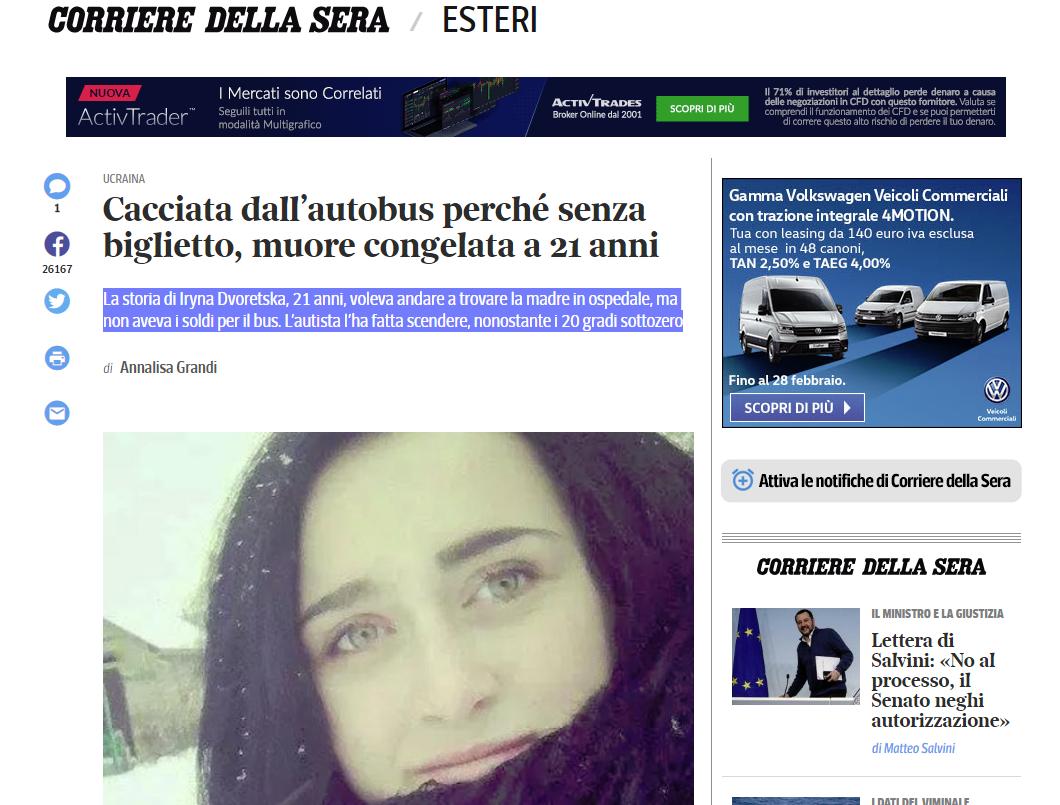 Misinformation Corriere della Sera
