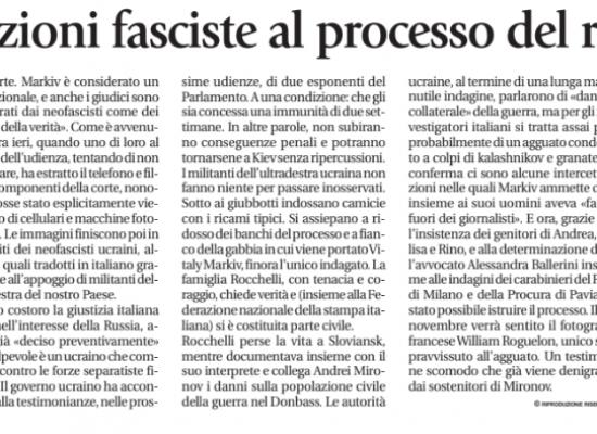 Fake : Intimidazioni fasciste al processo del reporter ucciso