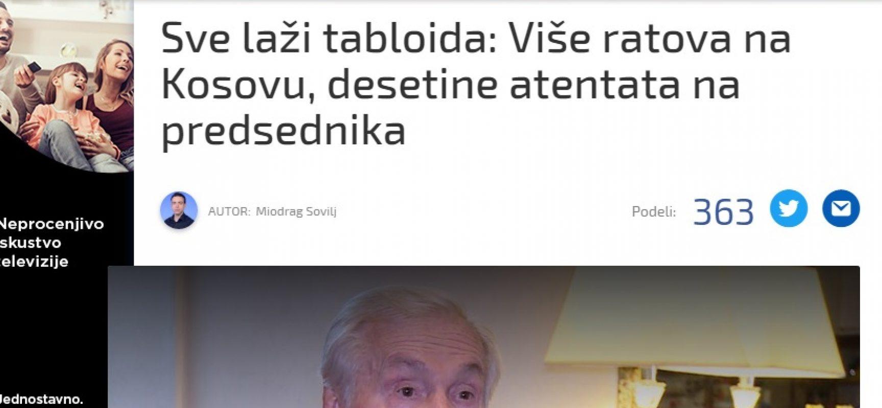 Sve laži tabloida: Više ratova na Kosovu, desetine atentata na predsednika