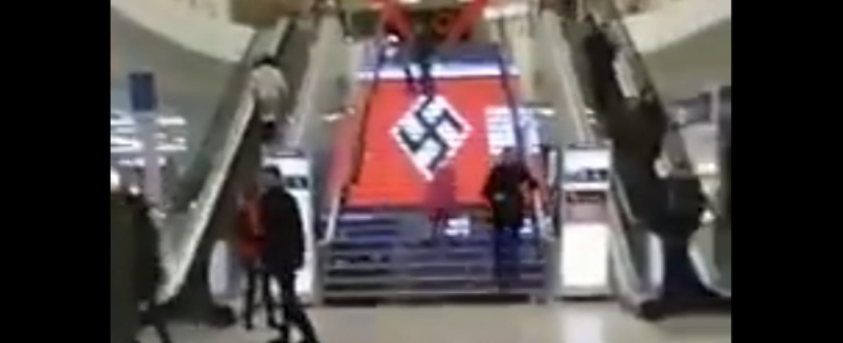 В киевски мол на LED стъпала се появи свастика. Собствениците заявиха, че това е хакерска атака