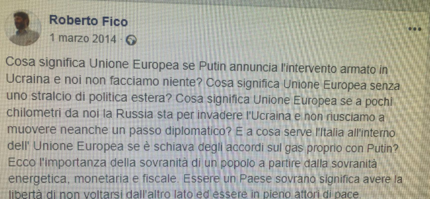 Roberto Fico cambia idea e si schiera con Putin