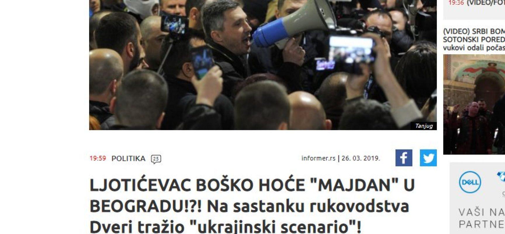 """Srpski tabloid zastrašuje """"Majdanom"""""""