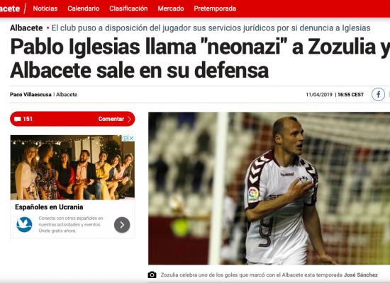 """Nueva repetición del viejo fake: Pablo Iglesias acusó al futbolista ucraniano Roman Zozulya de ser un """"neonazi y racista"""""""