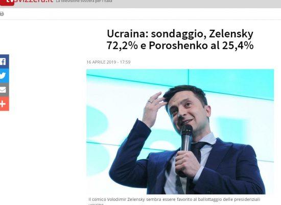 Fake : sondaggio, Zelensky 72,2% e Poroshenko al 25,4%