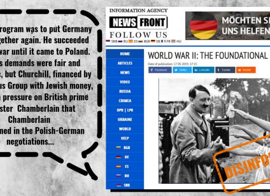 Pro-Kremlin News Front praising Hitler