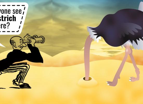 Cospirazione: è impossibile vedere gli struzzi nascondere la testa nella sabbia