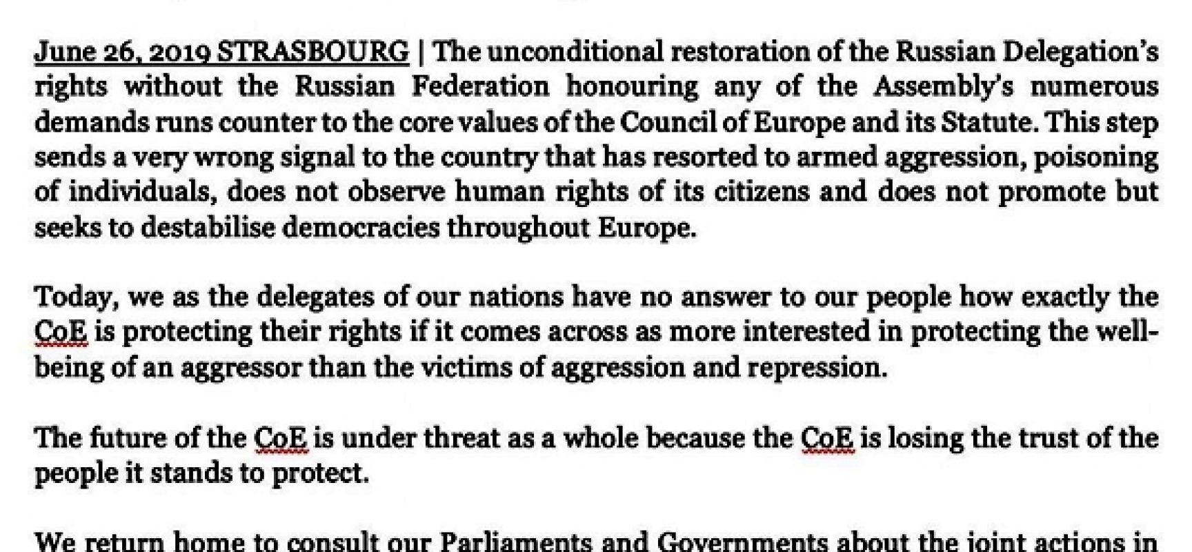 Protest Polski, Ukrainy, Gruzji, Słowacji i państw bałtyckich przeciwko przywróceniu Rosji pełni praw w Radzie Europy