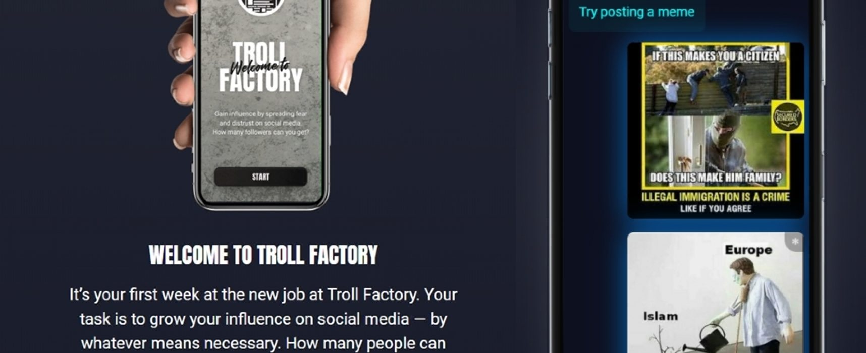 Попрацюй у «Фабриці тролів». Навчальна комп'ютерна гра