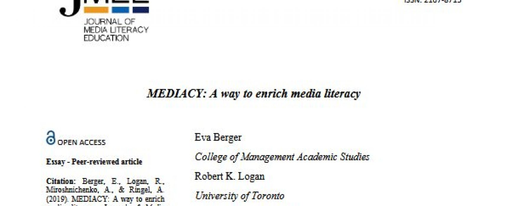 MEDIACY: A way to enrich media literacy