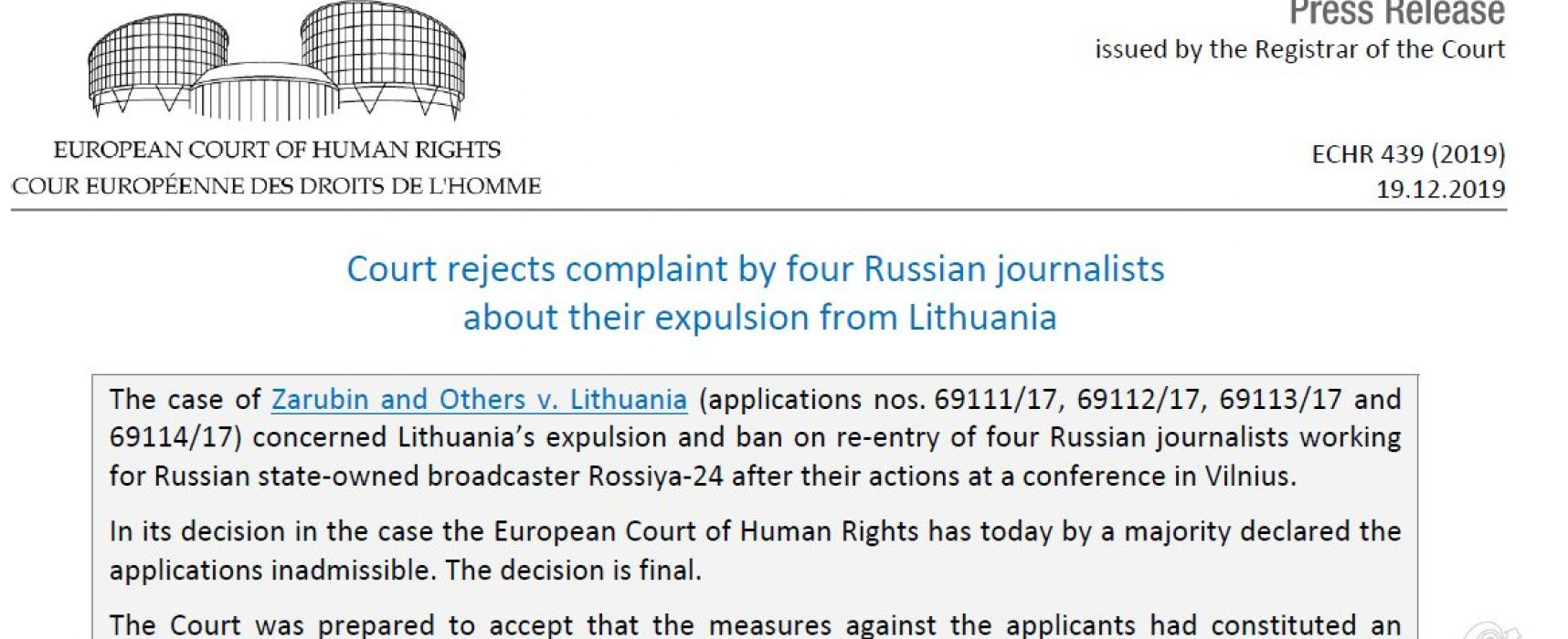 ЕСПЧ признал законным выдворение российских пропагандистов из Литвы