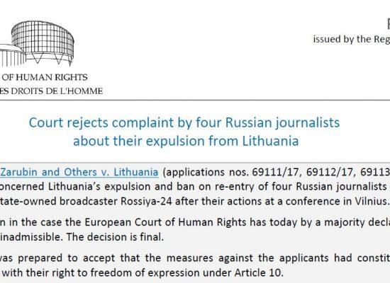ЄСПЛ визнав законним видворення російських пропагандистів із Литви