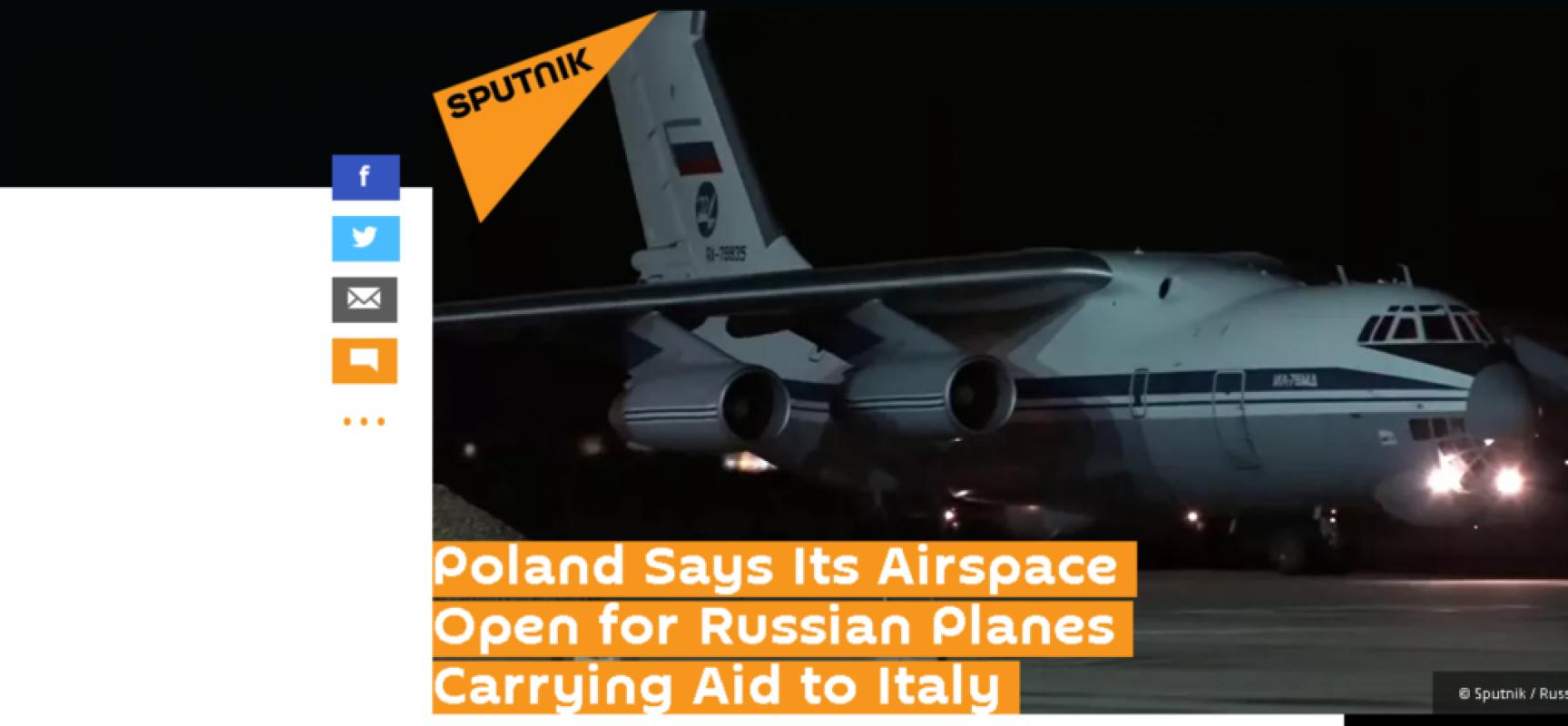 Fake: La Polonia chiude lo spazio aereo agli aiuti russi destinati all'Italia