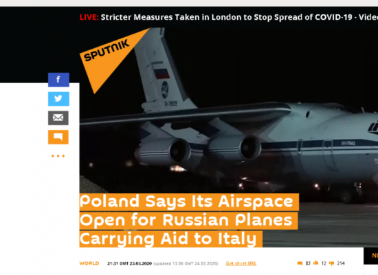 Russian senator falsely claims poles closed airspace to virus aid
