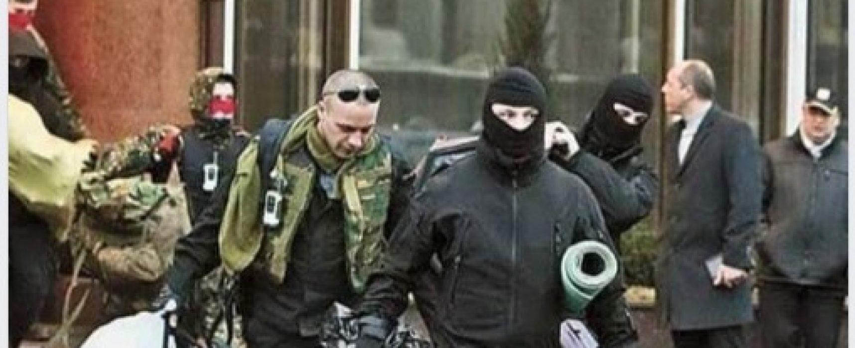 Фотофейк: «Расстрельная команда Майдана» под руководством Парубия выходит из отеля «Украина»