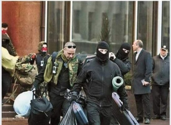 Photo Fake: Execution Team Leaving Ukraina Hotel