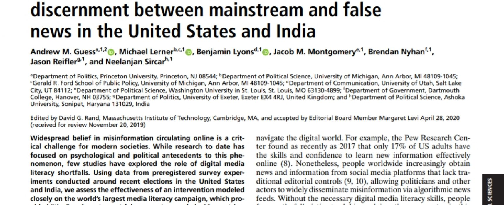 A digital media literacy intervention increases discernment between mainstream and false news in the United States and India